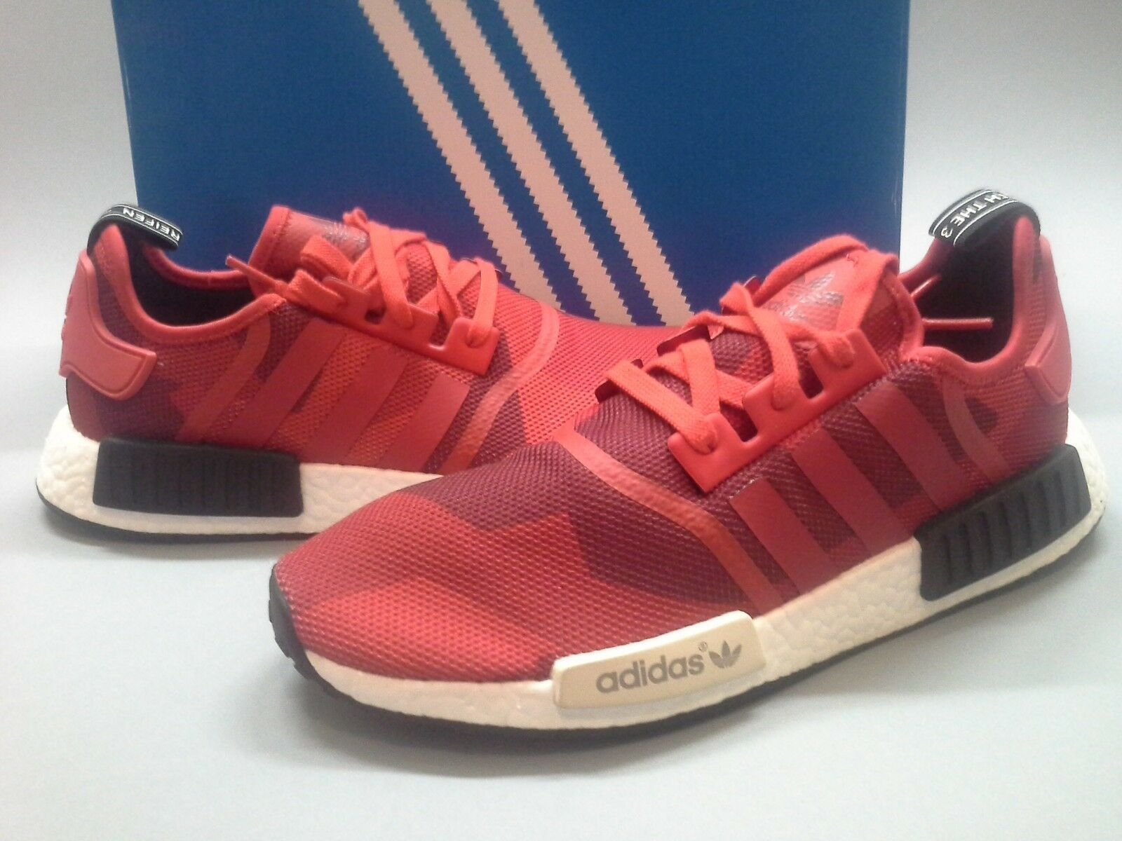 Size 12 New Adidas NMD Geometric Red Camo S79164 Nomad Runner NMD_R1 PK Triple
