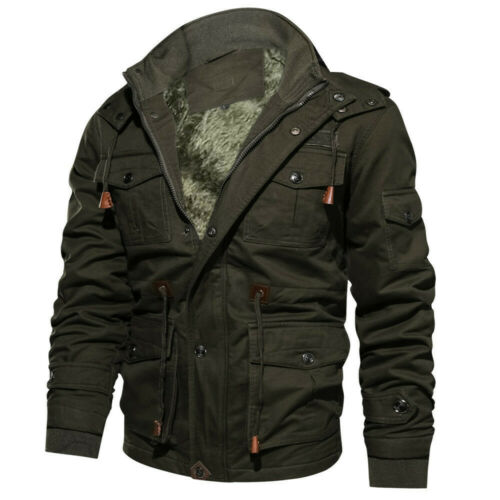 Men Winter Military Clothing Pocket Tactical Outwear Thickened Cashmere Coat US