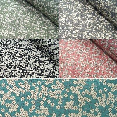 """100/% Cotton Fabric Material Antique Floral Print 112cm 44/"""" Six Colours Available"""