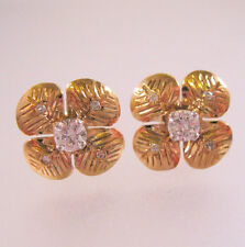 Estate Genuine Natural .6ctw Diamond 9k Solid Gold Earrings Stud English Vintage