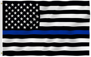 Thin-Blue-Line-American-Flag-Police-3x5-Foot-Law-Enforcement-Grommets-Garden-Hot