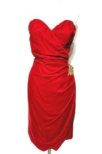 Vintage Size 12 Red Velvet Curvy Strapless Dress E