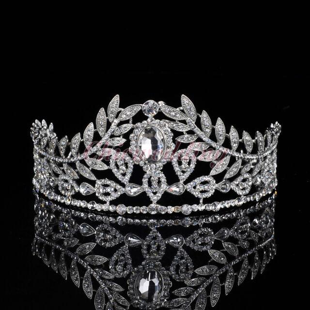 Vintage Wedding Pageant Prom Crystal Tiara Leaves Rhinestone Bridal Hair Crown