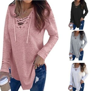 US-Womens-Long-Sleeve-Sweater-Blouse-Ladies-Oversized-Knit-Jumper-Pullover-Tops