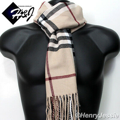 Men/'s Women/'s Multi-Color Checked Pattern Cashmere Feel Scarf*100/%Acrylic