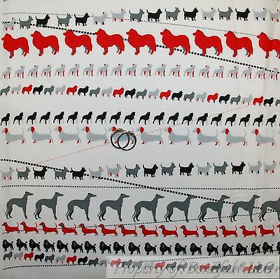 BonEful Fabric FQ Cotton Quilt Black Red B/&W VTG Xmas Puppy Dog Poodle Dalmatian