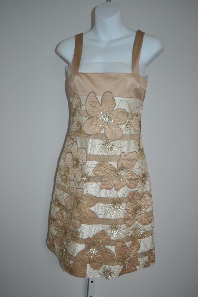 Valentino Taupe Cream Silk Striped Floral Embellished Sleeveless Dress, Sz 2