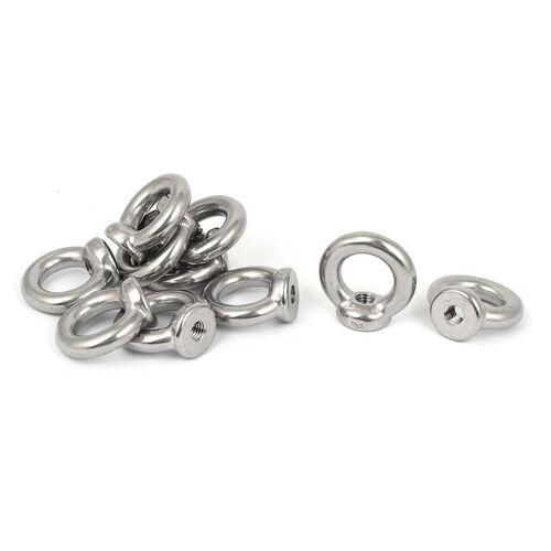 M8 Female Thread Stainless Steel Lifting Eye Nuts Ring 10 Pcs V4W3