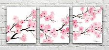 Cherry Blossoms Set of Three Watercolor Paintings Art Prints by Artist DJ Rogers