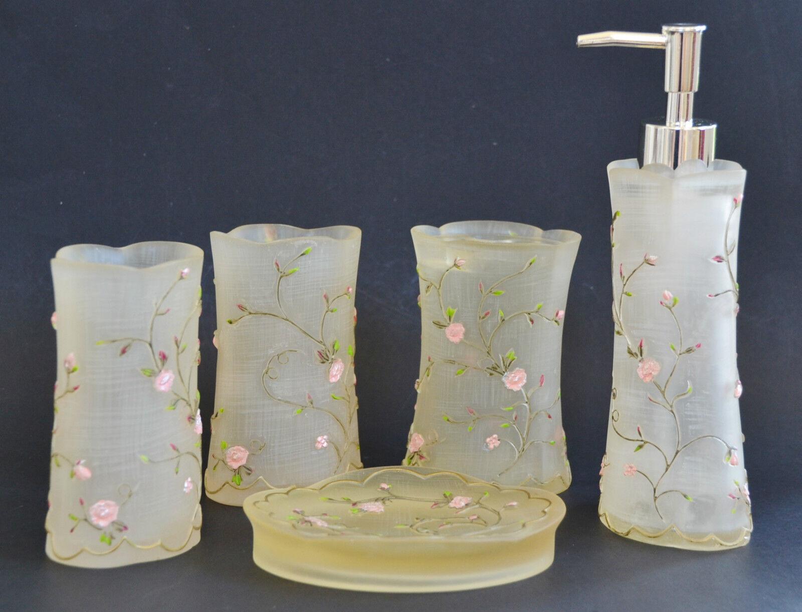 Neuf 5 Pièces Set Blanc + Rose Fleur Résine Distributeur de Savon + Plat + 2