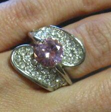 anello bijoux elegante e moderno - con strass bianchi e centrale rosa
