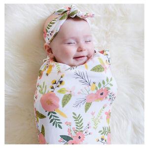 Newborn Infant Baby Swaddle Blanket Soft Sleeping Swaddle Muslin Wrap+Headband