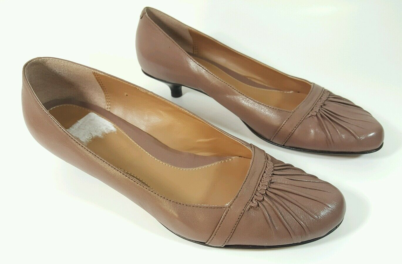 Clarks womens brown leather low heel shoes uk 5.5