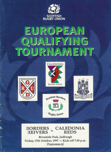 Border Reivers v Caledonia Reds 17 Oct 1997 Jedburgh RUGBY PROGRAMME