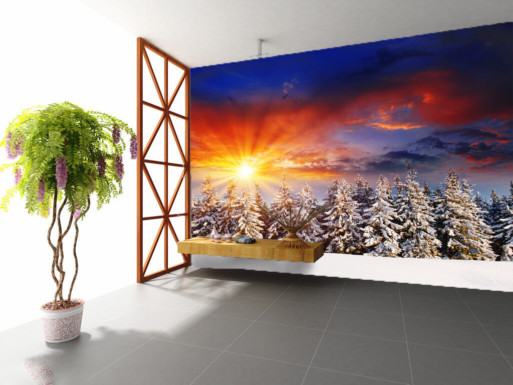 3D Snowy Forest Bright Sunshine 3 Wall Paper 696 Print Decal Wall AJ Wall Paper