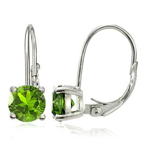 Image Is Loading Sterling Silver Peridot 6mm Round Leverback Earrings