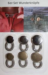 6 St.Wunderknöpfe Bunderweiterung Hosenerweiterung Metall 2 Farben Rock Hose NEU