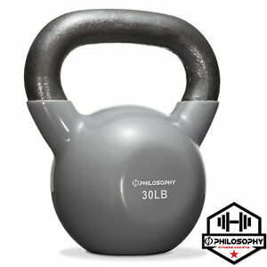 OPEN BOX - Vinyl Coated Cast Iron Kettlebell Weight, 30 lbs - Workout Training