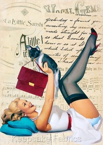 Pin Up Girl /& Pup Collage Art Quilt Block Multi Sizes FrEE ShiP WoRld WiDE F4