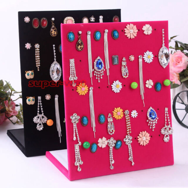 Velvet Earring Jewelry Display Stand Holder Showcase Organiser Rack Accessories
