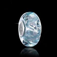 MATERIA Glas Beads blau türkis Element - 925 Silber Glas Beads mit Glitzer Folie