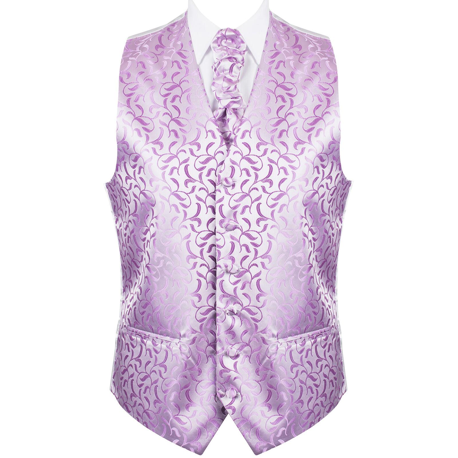 UK Men's Lilac Wedding Waistcoat Vintage Vine 6 Button Jacquard Suit Vest Tailor