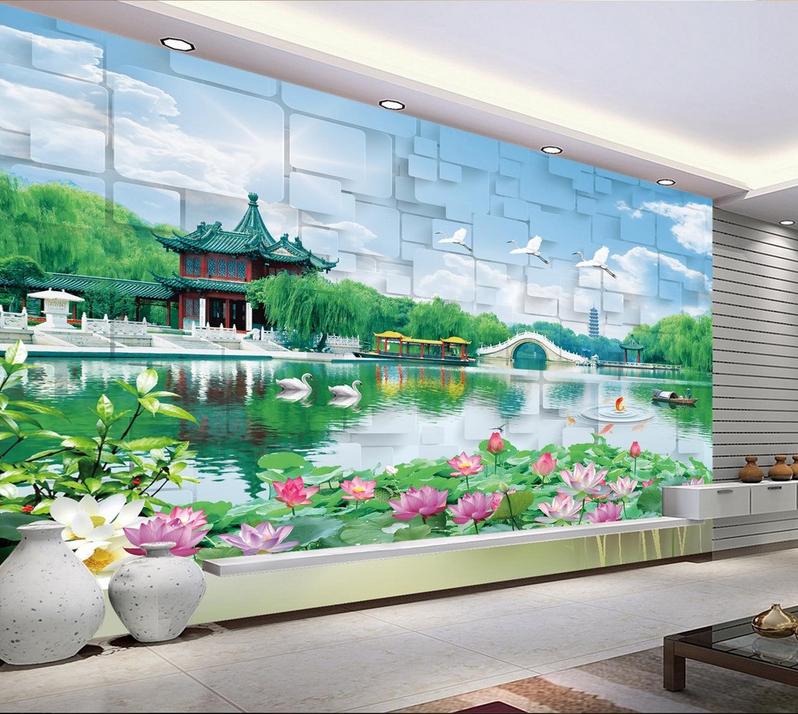 3D Lotus Pavillon See 7 Tapete Wandgemälde Tapete Tapeten Bild Familie DE Summer