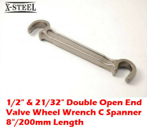 """1//2/"""" /& 21//32/"""" Double Open End Valve Wheel Wrench C Spanner 8/""""//200mm Length"""