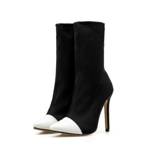 stivali stivaletti stiletto bianco nero comodi eleganti 11 pelle sintetica 1407