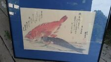 PARE1800's ANDO HIROSHIGE Red and Blue Fish Japanese Woodblock Print Signed