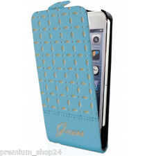 GUESS PREMIUM FLIP CASE TASCHE HANDYTASCHE for iPhone 5 5S S Gianina blue blau