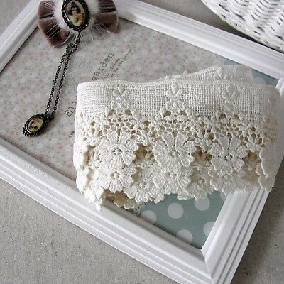 1Yard Antique Style Cotton Fabric Embroidery Crochet Lace Trim Doll Dress 4.5cm