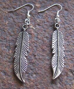 Feder-Ohrhaenger-neu-Silberfarben-Ohrringe-Feather-Earring-Anhaenger-Damen