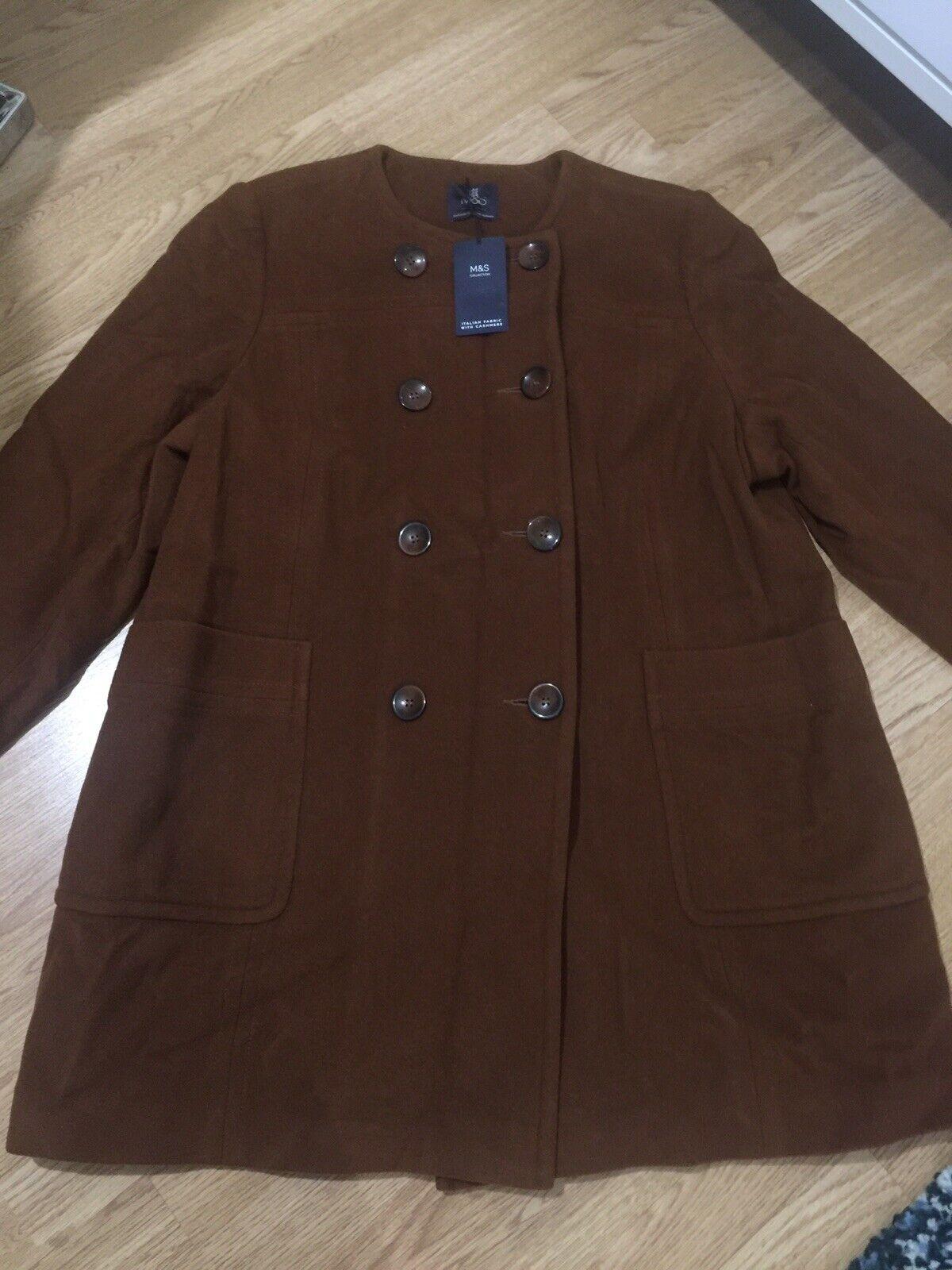 BNWT M&S Autograph taille 22 Cannelle Italien Tissu Avec Cashmere Coat-