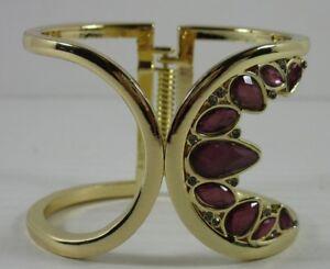 INC-29-NWT-Gold-Tone-Pave-Crystal-Purple-Stones-Hinged-Cuff-Bracelet-FO86