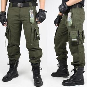 Cargo Pantalones Tacticos Militares Ropa Para Hombre Grandes Bolsillos Pantalones Tamano Al Aire Libre Ebay