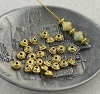 50 kleine Metallperlen antik gold 5x3mm Spacer Zwischenperlen