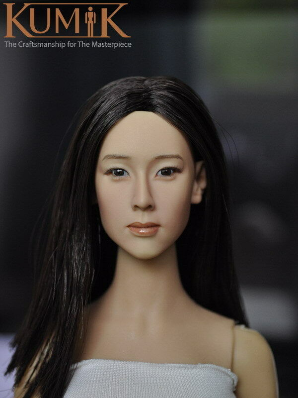 Kumik 1 6 KM15-16 Women Girl Lonf Hair Head Head Head Fit 12  Female Action Figure Body 89a951