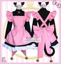 Card Captor KINOMOTO SAKURA Black cat maid Dress Outfit Cosplay Costume 5pcs/set