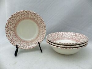 English-Ironstone-Provence-Red-pattern-Lot-Set-of-4-Coupe-Cereal-Bowls-EUC