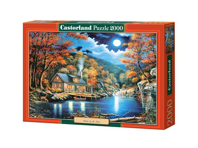 Castorland puzzle 2000 stcke - htte am see - 36  x27  versiegelte kiste c-200504