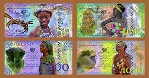 SET-Netherlands-Guinea-Ghana-50-100-500-1000-Gulden-2016-POLYMER-UNC