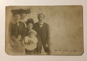 Vintage-Antique-Real-Photo-Postcard-Young-Family-With-baby-and-grandmother