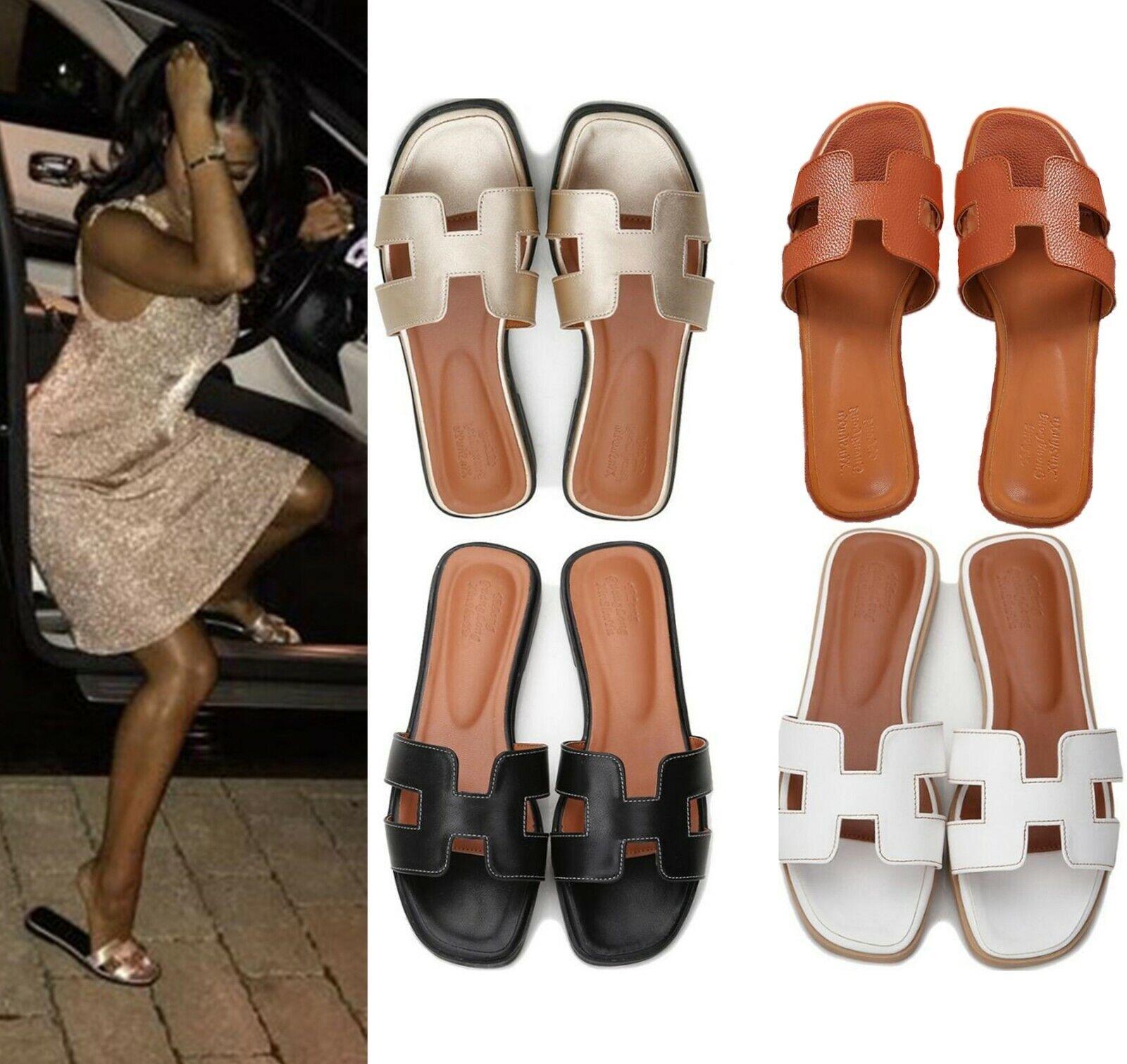 Nouveau Femmes Oran Sandales Plates Pantoufles Femmes Chaussures Sandales L9FR