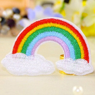 DIY Embroidery Rainbow Sew On / Iron On Patch Badge Embroidered Fabric Applique