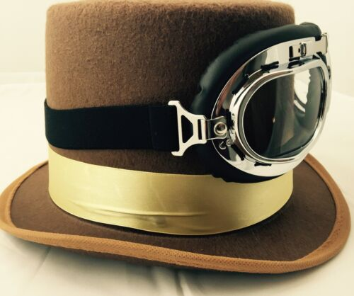 Vintage Victorian Steampunk Cyber Goggles Hat /& Glasses Punk Gothic Fancy Dress