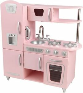 Kidkraft Vintage Pretend Play Kids Wooden Kitchen Set In Pink 53179