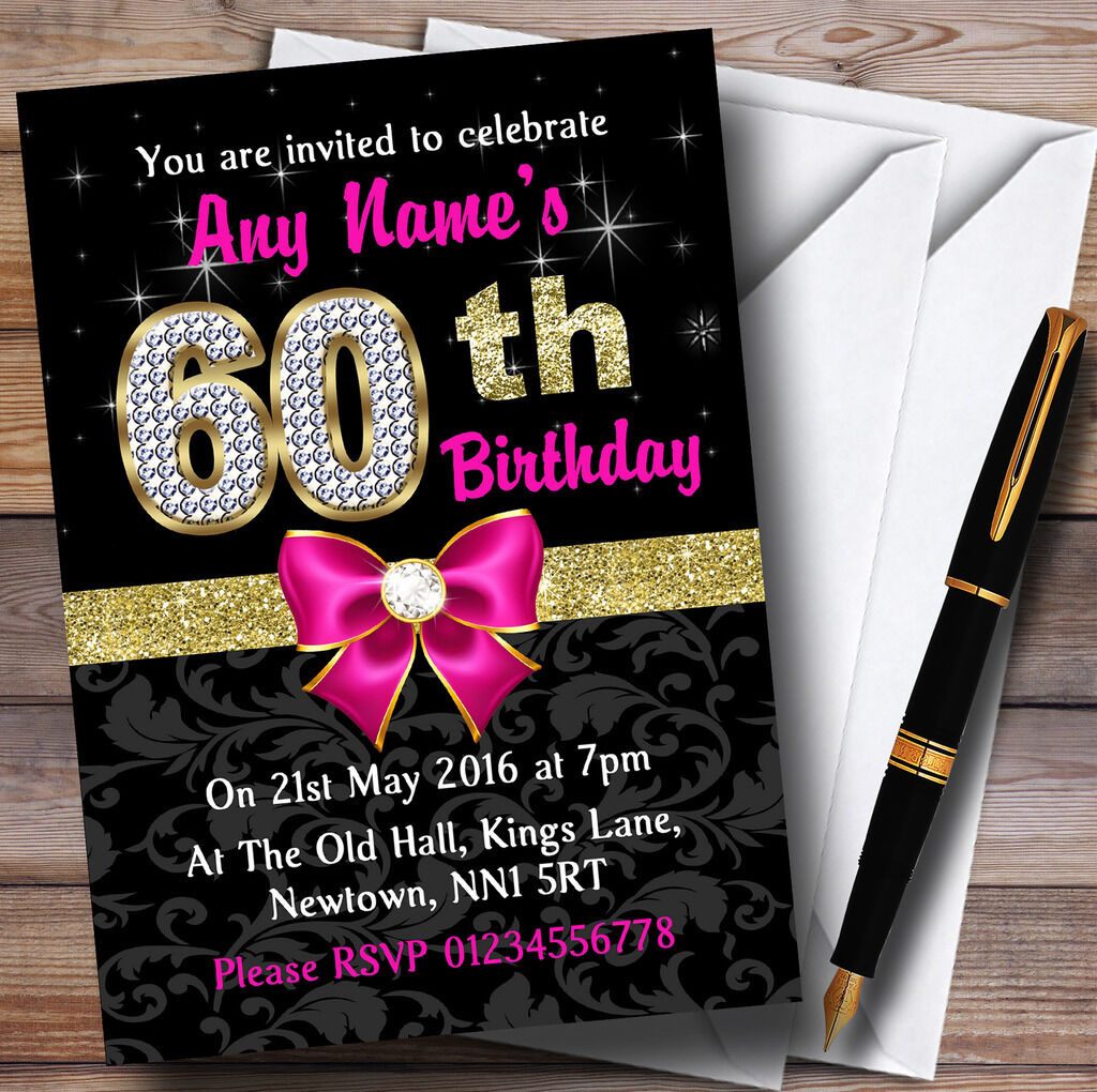 Rose Noir Or Or Or Diafemmets 60e Anniversaire Party Invitations