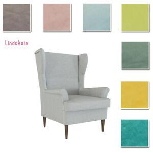 Custom-Made-Cover-Fits-IKEA-Strandmon-Armchair-Chair-Cover-Velvet-Fabric