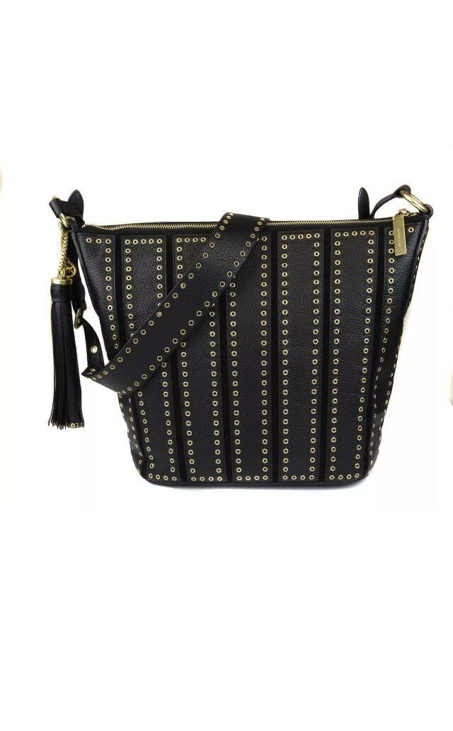 392a2547f18aa0 Michael Kors Brooklyn Grommet Medium Feed Bag Purse Crossbody Black 2 for  sale online   eBay
